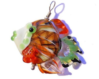 Orange Fish pendant necklace, lampwork glass bead, handmade 'yarn bombed' designer ocean focal bead, SRA art glass, cgge