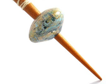Turquoise Handmade glass bead whorl spindle, cherry supported spindle, 'Southwest Dreams' Medieval inspired lightweight spinning tool