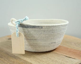 Basket rope coil grey thread natural bin storage organizer bowl wooden tag by PETUNIAS
