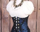 Waist 40-42 Blue and Black Medallion Torian Corset-New Improved Pattern
