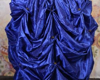 Blue Pintuck Knee Length Bustle