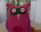 Recycled Cashmere Owl Tooth Fairy Pillow - Pink and Green