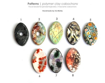Cabochon, Pendant, Handmade bead, Macrame bead, Faux ceramic macrame polymer clay bead, Bead for jewellery or knotting, Oval pointy bead