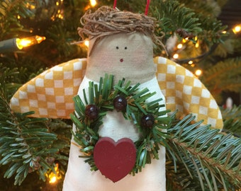 Handcrafted angel Christmas ornament