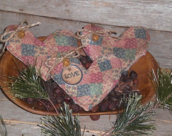 Set of 3 Primitive Grungy Rustic Pastel Patchwork LOVE Valentine Hearts - Heart Shaped Bowl Fillers - Ornies - Tucks - Ornaments