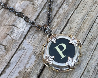 Custom Initial Necklace, Vintage Typewriter Key, Letter P, Gift Idea For Grandma