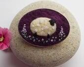 Felt Sheep Brooch Pin Purple Scottish Fibres