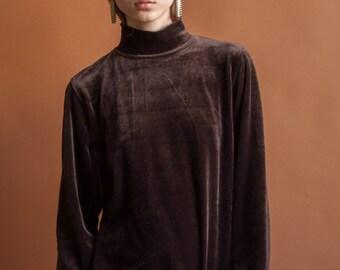 PIERRE CARDIN brown velour turtleneck / designer turtleneck / 70s turtleneck / s / 1462t / B21