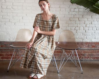 oversized plaid babydoll dress / babydoll maxi dress / long babydoll dress / s / m / 2212d