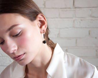 black ball drop earrings / long earrings / simple black earrings / 1622a