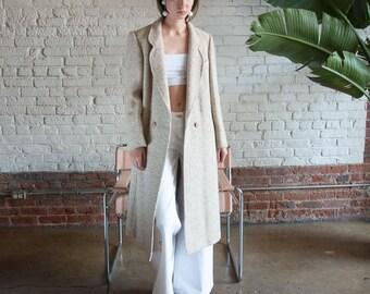 oatmeal tweed midi coat / long structured coat / winter coat / s / m / 2199o