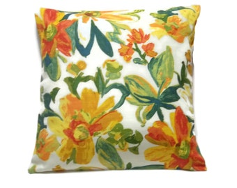 Decorative Pillow Cover Red Orange Green Yellow Floral Design Same Fabric Front/Back Toss, Throw, Accent, 18x18 inch  x