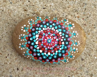 Patio Decor, Painted Rocks, Art Stone, Aqua, Red, Black and White, Zen Garden, OOAK, Gift for him, present for her, Office Desk paperweight