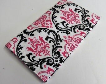 Checkbook Cover Case Cheque Coupons Money Holder - Dark Pink Black White Damask Fabric