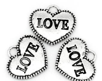 LOVE charms hearts antiqued silver 12x13mm double sided two