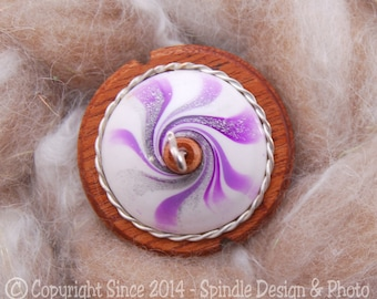 The Clay Sheep Drop Spindle - LIMITED EDITION - Purple Swirl Top Whorl Drop Spindle - Small .83 oz
