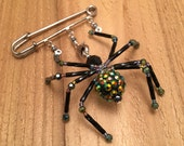 Handcrafted Beaded Spider Pin - Maude