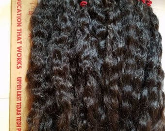 """F179-4 Lustrous Brushed Bundled Washed 8"""" Natural  Doll Mohair from Milagro 1 oz"""