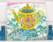 Teapot in Sunshine original mixed media acrylic still life painting