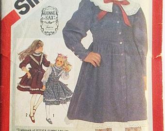 1980s Vintage Sewing Pattern Simplicity 6092 Childs Dress Pattern Size 6