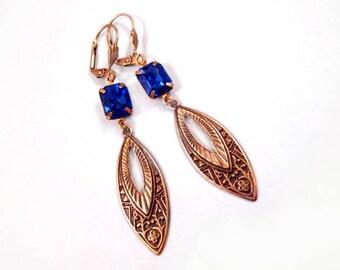 Rhinestone Earrings, Sapphire Blue Glass Rhinestones and Brass Drop Pendants, Long Dangle Earrings, FREE Shipping U.S.