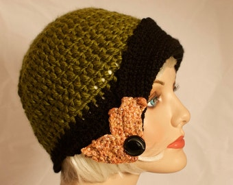 Olive Green Flapper Style Cloche hat 1920s and 1930s Hip Fashion