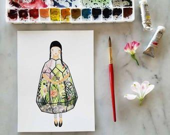 Original Grow Terrarium Bell Jar  Greenhouse Girl Portrait Floral Watercolor Illustration