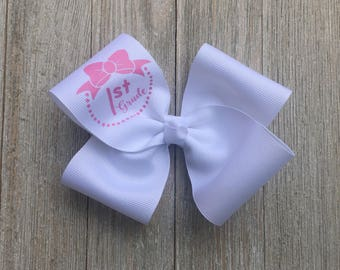 Large Monogrammed 1st Grade Hair Bow,More Grades Available, Alligator Clip, First Day of School Hair Bow