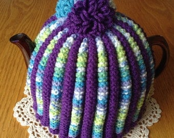 Knitted Tea Cosy, Knit Tea Cosy, Traditional Tea Cosy, Colourful Tea Cosy