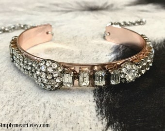 Vintage Rhinestone Rose Gold Skinny Cuff....Wild At Heart Four