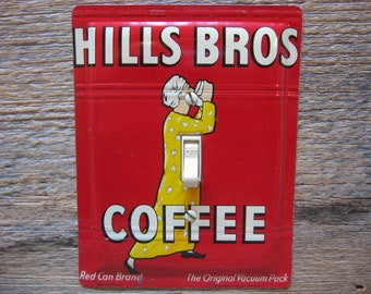 Switch Plate 1950s Kitchen Decor Antique Lighting Hills Bros Brothers Coffee Tin For Rustic Decoration SP-0029
