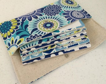 SALE Cash budget wallet - Blue Floral 6 envelopes