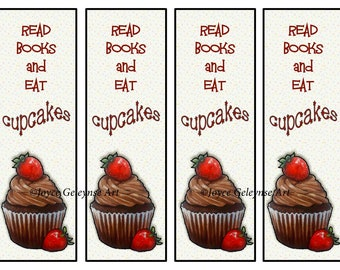Printable Bookmark, Chocolate Cupcakes with Strawberries, Read Books and Eat Cupcakes, Original Art, Instant Download, You Print