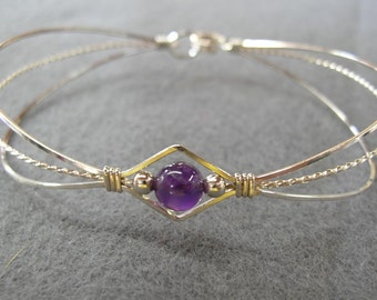 Sterling Silver Wirewrapped Bracelet with Amethyst