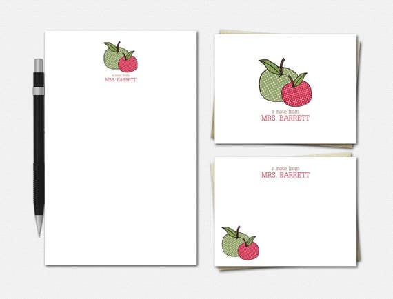 Personalized Teacher Stationery Set: Polka Dot Apples