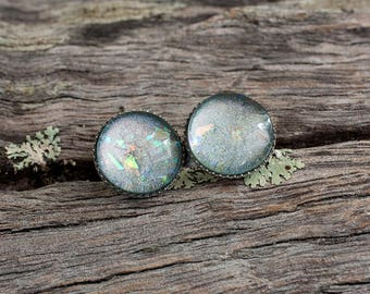 Shimmering silver hand made stud post earrings hypoallergenic