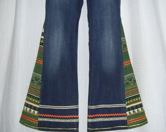 Hippie Bell Bottom Jeans OOAK Vintage Polo Lauren Colorful Boho Trim Upcycled Huge Flare Jean Unique Bell Bottoms Adult sz 8 Ready to Ship