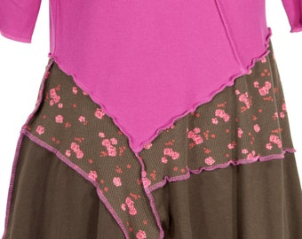 Raspberry Cordial upcycled dress - brown, fuchsia, floral and asymmetric