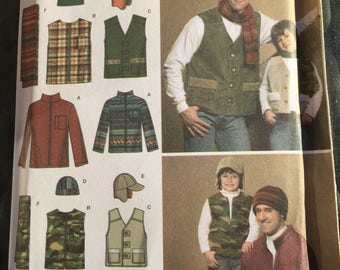 Simplicity 4053 uncut boys' men's jackets vests hats scarves easy to sew pattern
