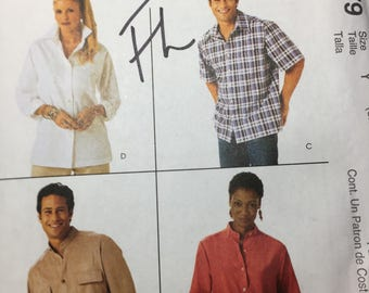 McCall's Classic fit unisex 4079 shirt patterns men's and women's sizes S-M-L