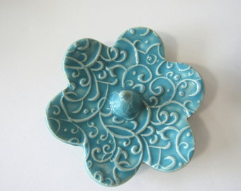 Ring Holder, Ring Dish, Turquoise Ring Bowl, Glazed in Sea Isle Blue