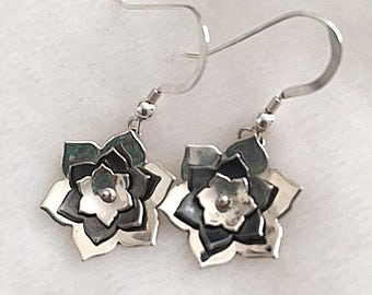Sterling Riveted Flower earrings with Sterling earwires