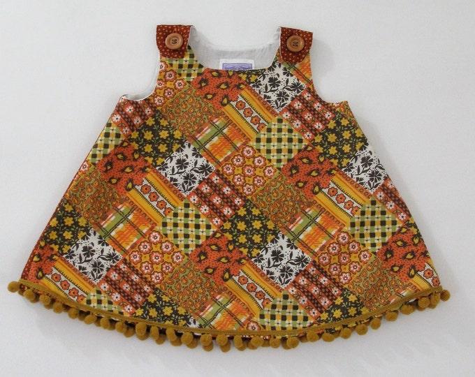 Mustard & Rust Retro Patchwork Toddler Girls Dress - Size 12 - 18 Months  - Thanksgiving Dress, Autumn Dress, Orange and Yellow Aline Dress