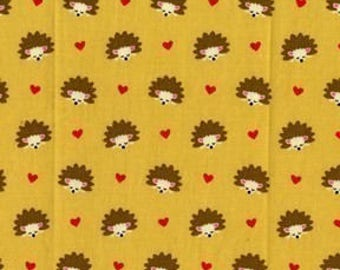 Michael Miller Hedgehog Heaven Gold Fabric - REMNANT Size 23 Inches by 44 Inches