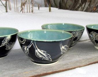 Set of Four Handcarved Serving Bowls