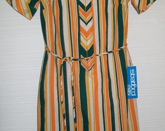 "NOS Vintage 1970s Green Orange Stripe Day Dress Mod Shift w self belt Chevron Placket 36"" bust stratford mills"