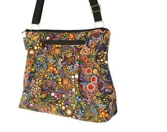 Cross Body Purse - Shoulder Bag - Tablet Pocket - Crossbody Purse - FAST Shipping - SMALL HOBO Happy Fabric
