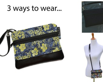 Cell Phone Purse - Fanny Pack or Wristlet - Cell phone Cross body Bag - Small Cross body Purse - Long Zip Phone Bag- Dasiy Does It Fabric
