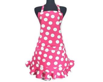 Pink Polka Dot Apron for Women , White dots on Pink , Retro Style Ruffle , Adjustable , pin up girl / rockabilly / retro kitchen decor