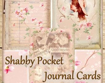 Shabby Pocket Journal Cards Set of 6 Vintage Digital Printable INSTANT DOWNLOAD